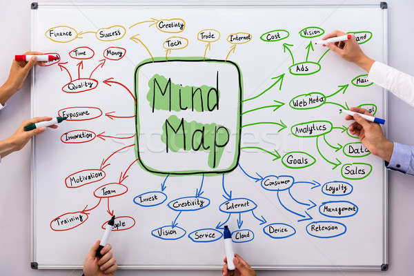 Businesspeople Drawing Mind Map Chart Stock photo © AndreyPopov