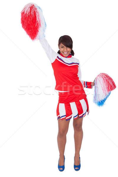 Glimlachend mooie cheerleader geïsoleerd witte school Stockfoto © AndreyPopov