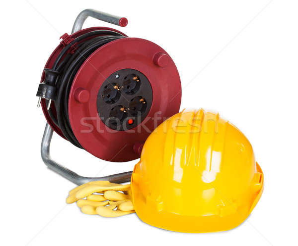 Electric cable reel, helmet and rubber gloves Stock photo © AndreyPopov
