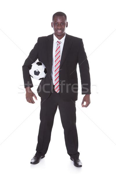 Işadamı futbol portre genç Afrika Stok fotoğraf © AndreyPopov