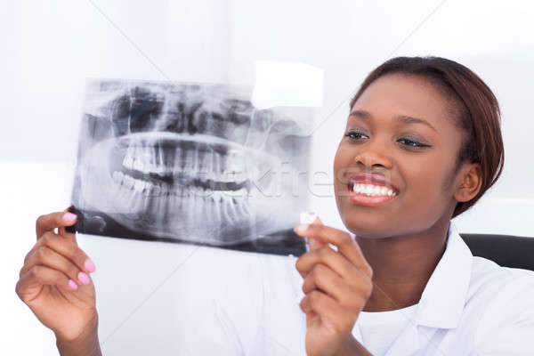 Female dentist looking at jaw Xray in clinic Stock photo © AndreyPopov