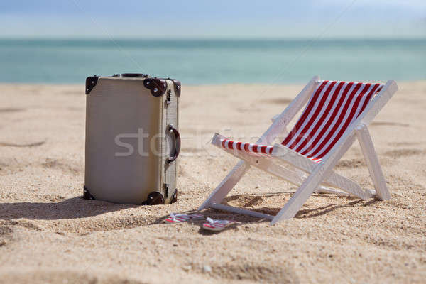 Stock photo: Deckchair With Suitcase