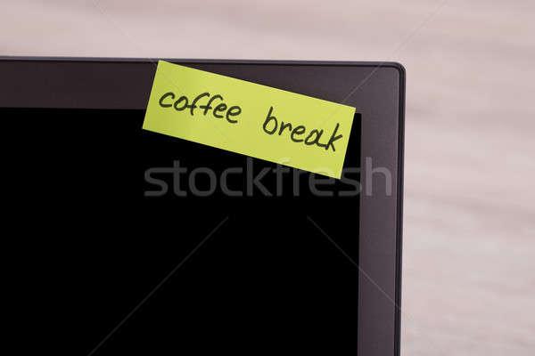 コーヒーブレイク 付箋 ノートパソコン 画面 クローズアップ メッセージ ストックフォト © AndreyPopov