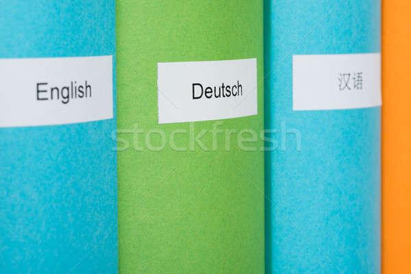 Extranjero idioma libros primer plano foto plataforma Foto stock © AndreyPopov