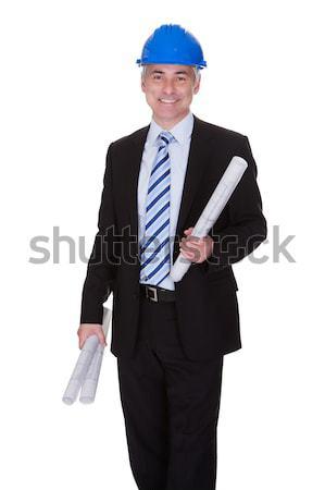Stockfoto: Portret · architect · blauwdrukken · permanente