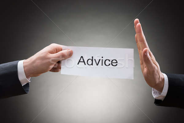 Close-up Of Businessman's Hand Refusing Advice Sign Stock photo © AndreyPopov