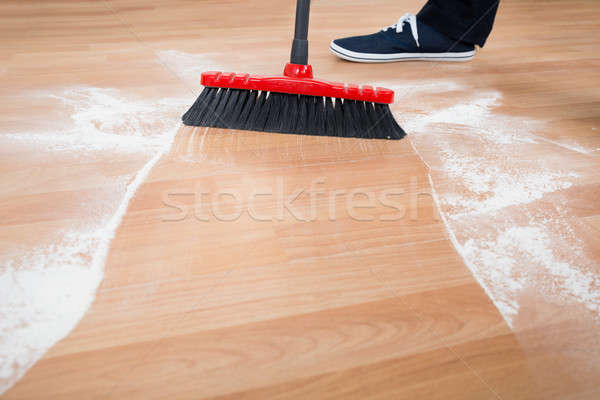Man Sweeping Hardwood Floor Stock photo © AndreyPopov