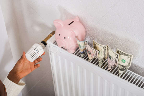 Woman Adjusting Thermostat On Radiator Stock photo © AndreyPopov
