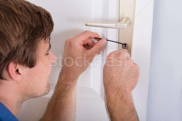 Drzwi uchwyt domu młodych Zdjęcia stock © AndreyPopov