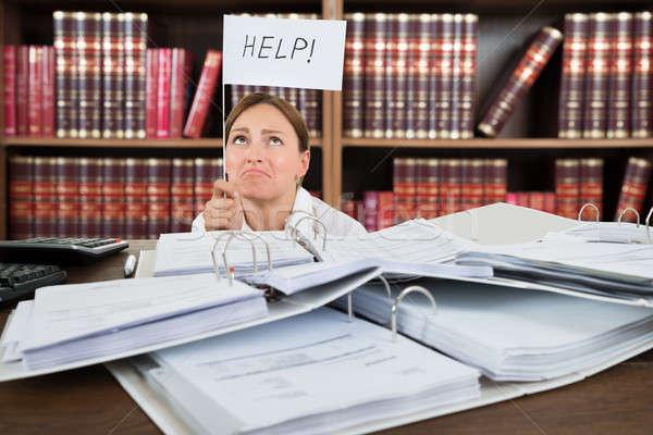 несчастный женщины бухгалтер помочь флаг Сток-фото © AndreyPopov