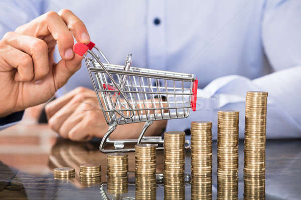 Businessman Holding Shopping Trolley With Coin Stack Stock photo © AndreyPopov