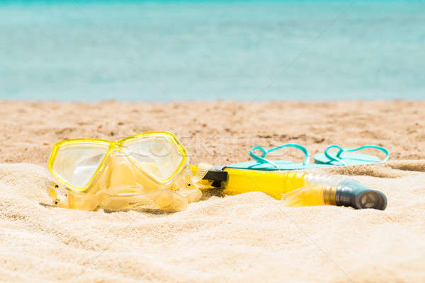 The Snorkel Mask And Slippers On The Beach Stock photo © AndreyPopov