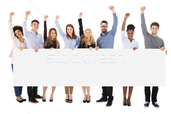 College Students With Billboard On White Background Stock photo © AndreyPopov