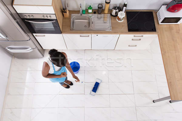 Housewife Cleaning Floor With Mop Stock photo © AndreyPopov