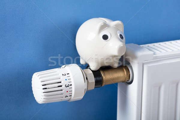 Persely fűtés radiátor közelkép kék kéz Stock fotó © AndreyPopov