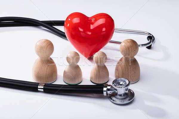 Fából készült piros szív alak sztetoszkóp közelkép fehér Stock fotó © AndreyPopov