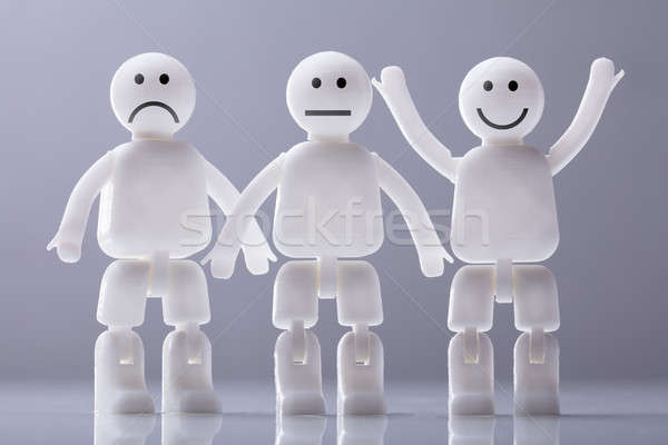 Three Human Figures Showing Various Facial Expressions Stock photo © AndreyPopov