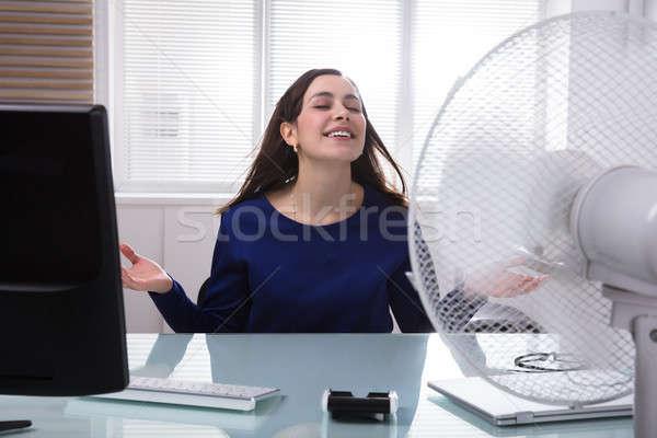 Mujer de negocios enfriamiento eléctrica ventilador sonriendo jóvenes Foto stock © AndreyPopov