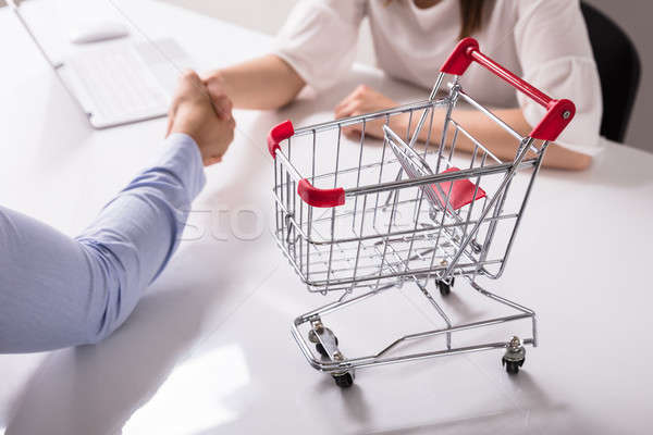 Stock photo: Close-up Of Empty Shopping Cart On Desk