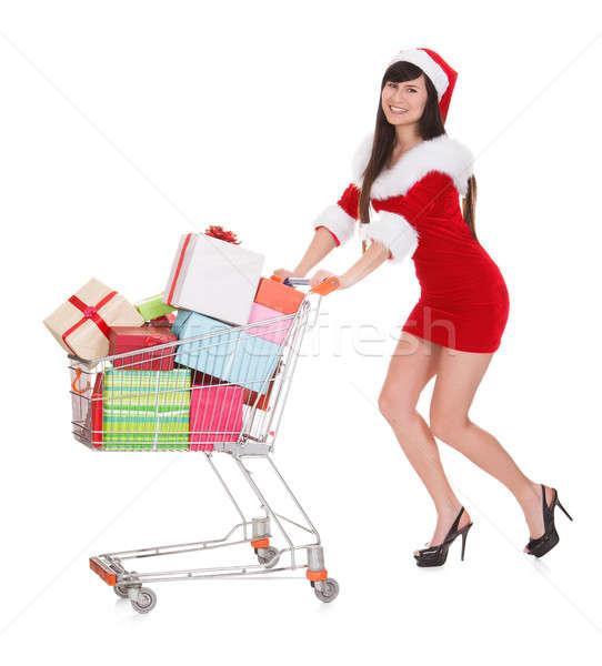 Stock fotó: Nő · toló · bevásárlókocsi · visel · mikulás · jelmez