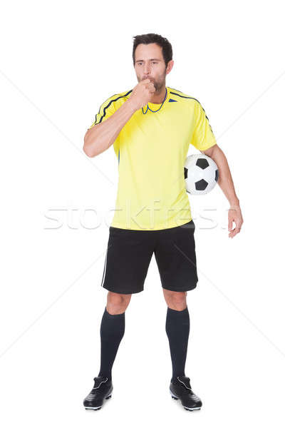 Soccer judge standing with ball Stock photo © AndreyPopov
