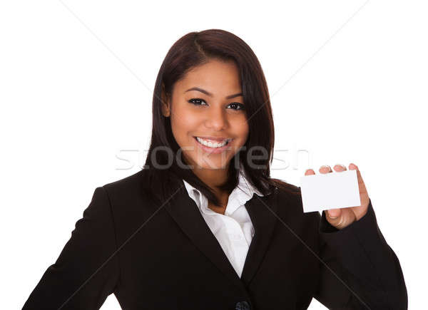 Happy Businesswoman Holding Visiting Card Stock photo © AndreyPopov