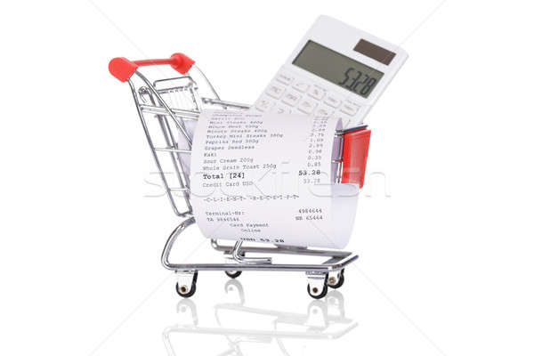 Shopping Trolley With Receipts And Calculator Stock photo © AndreyPopov