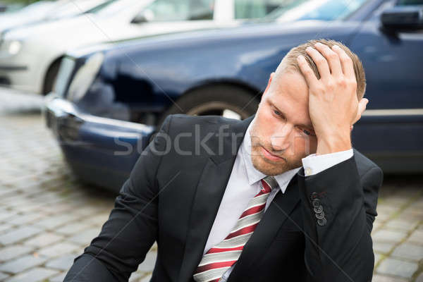Sad Young Man With Damaged Car Stock photo © AndreyPopov