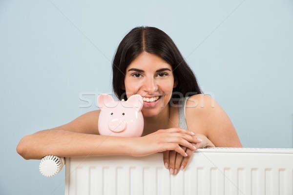 Donna radiatore home giovani felice Foto d'archivio © AndreyPopov