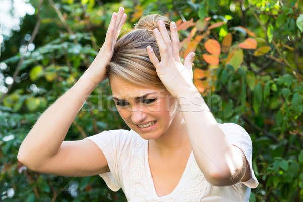 Nő kezek fej növények csalódott fiatal nő Stock fotó © AndreyPopov