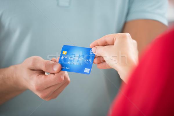Verkoper creditcard klant afbeelding vrouwelijke Stockfoto © AndreyPopov