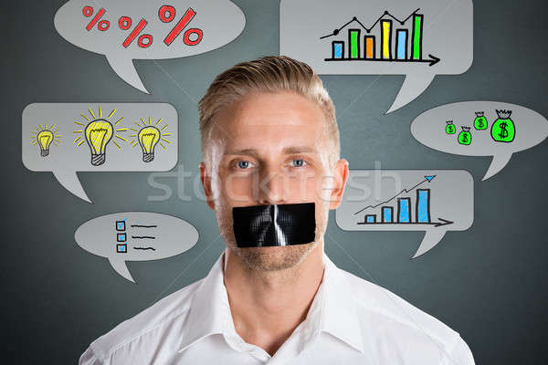 Businessman With Black Duct Tape On Mouth Stock photo © AndreyPopov