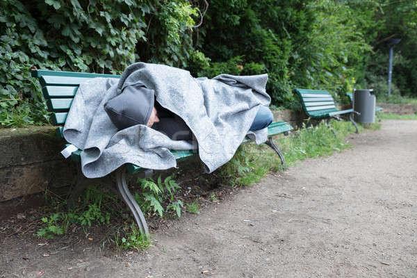 Senzatetto uomo dormire panchina coperta natura Foto d'archivio © AndreyPopov
