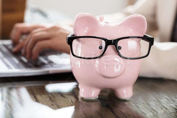 Сток-фото: розовый · Piggy · Bank · черный · очки