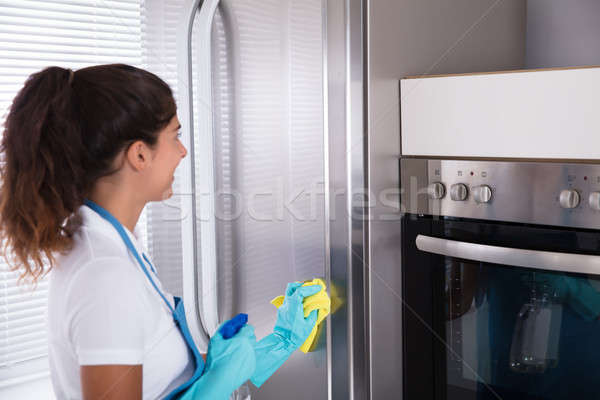 Woman Cleaning Her Stainless Steel Refrigerator Stock photo © AndreyPopov
