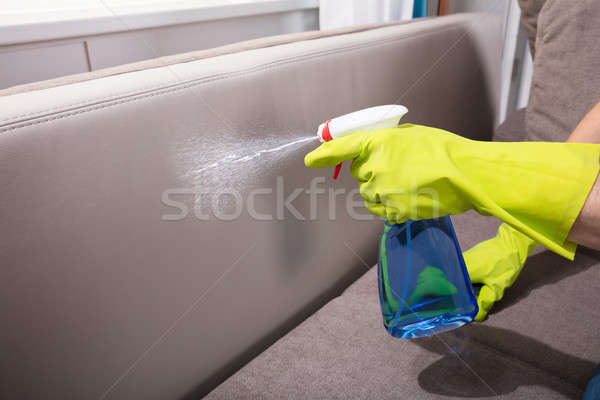 Person Cleaning Sofa With Spray Bottle Stock photo © AndreyPopov