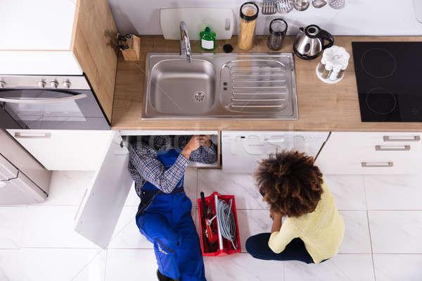 водопроводчика раковина кухне мнение Сток-фото © AndreyPopov