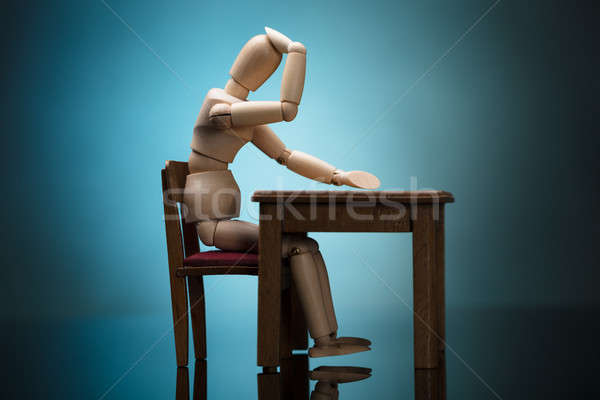 Wooden Dummy Figure Suffering From Headache Stock photo © AndreyPopov