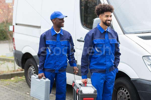 Retrato dos jóvenes manual trabajador herramienta Foto stock © AndreyPopov