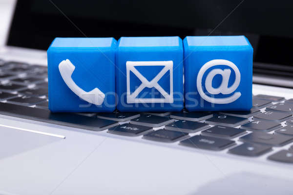 Blue Cubic Blocks With Various Contact Options Stock photo © AndreyPopov