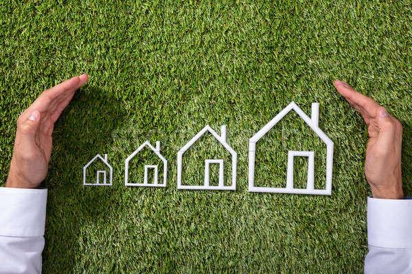 Személy skicc ház személyek kéz zöld fű Stock fotó © AndreyPopov