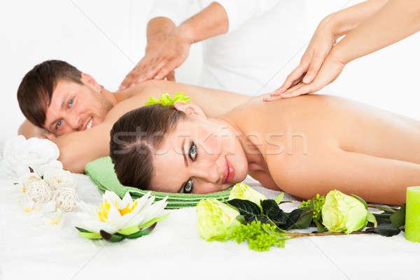 Szczęśliwy para leczenie uzdrowiskowe atrakcyjny strona Zdjęcia stock © AndreyPopov