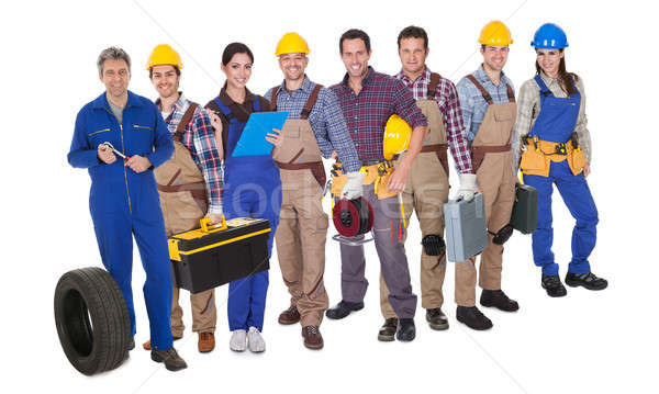 Portrait of happy industrial workers Stock photo © AndreyPopov
