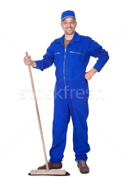 Happy Sweeper Posing With Brush Stock photo © AndreyPopov