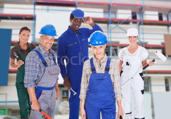 Emberek sokoldalú foglalkozások csoportkép építkezés üzlet Stock fotó © AndreyPopov