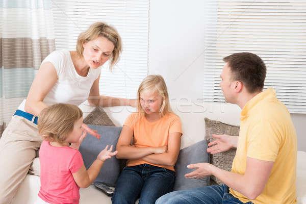 Mérges zaklatott család érv otthon gyerekek Stock fotó © AndreyPopov
