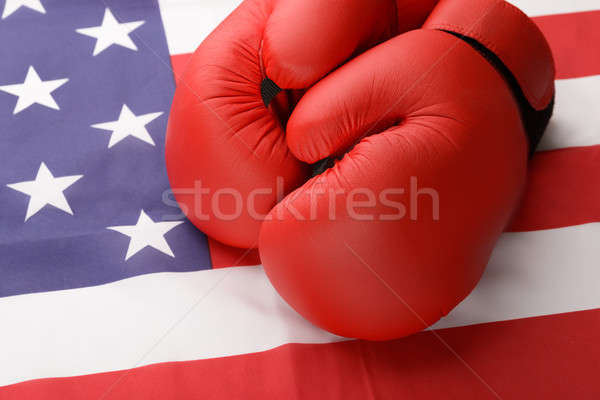 Boxing Gloves On American Flag Stock photo © AndreyPopov