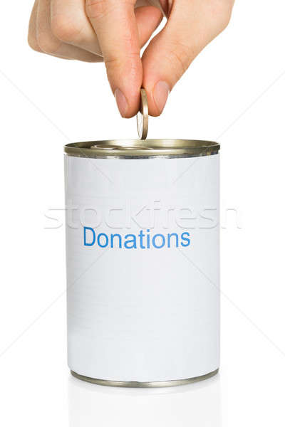 Pessoa moeda doação lata pessoas mão Foto stock © AndreyPopov