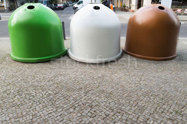 Three Recycling Bins Containers Stock photo © AndreyPopov