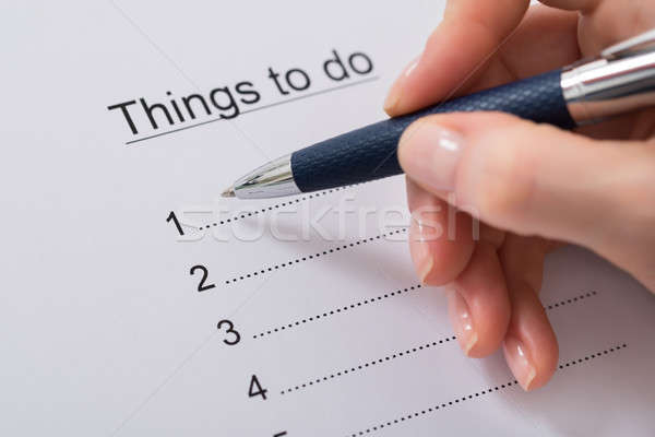 Woman Hand Writing Things To Do List Stock photo © AndreyPopov